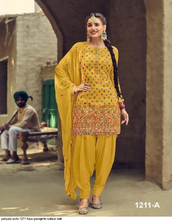 yellow georgette fabric embroidery work wedding