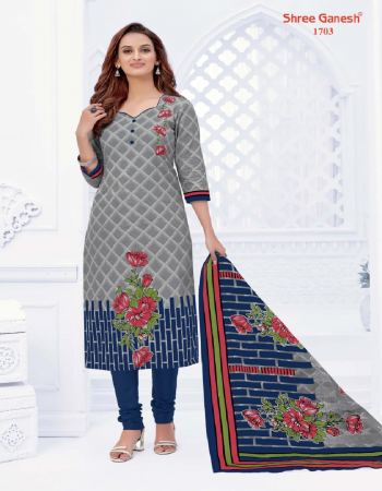 grey pure cotton fabric printed work party wear