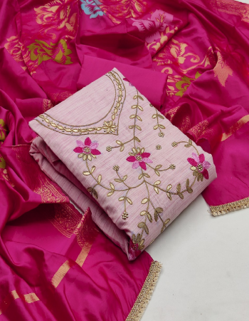 pink cotton fabric handwork work casual