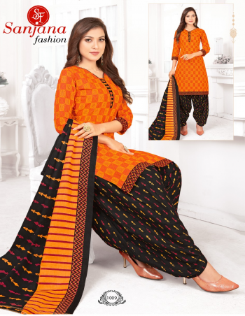 orange pure cotton fabric printed work casual