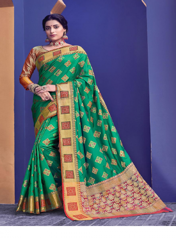 green banarasi silk fabric jacquard work ethnic