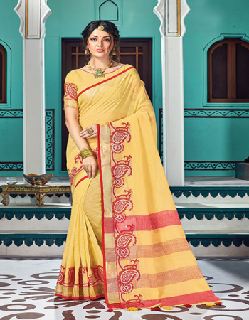 yellow linen cotton fabric weave work ethnic