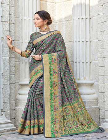 grey patola silk  fabric jacquard work ethnic