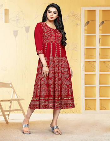 red rayon fabric printed work party wear