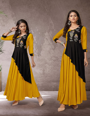yellow rayon fabric embroidery work ethnic