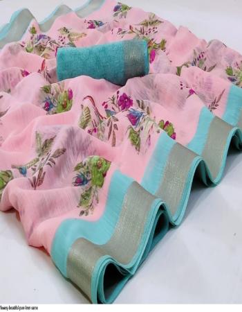pink pure linen fabric printed work wedding