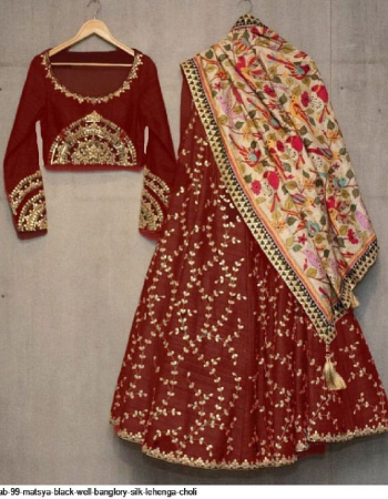 marron banglori silk fabric embroidery + fancy work party wear
