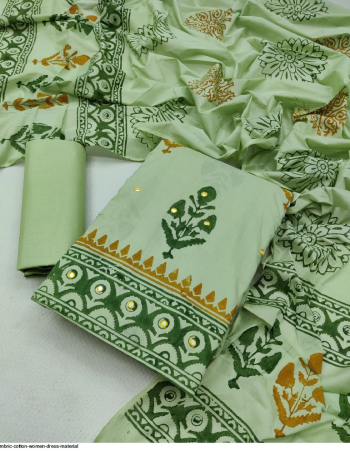 light green cambric cotton print  fabric printed work running