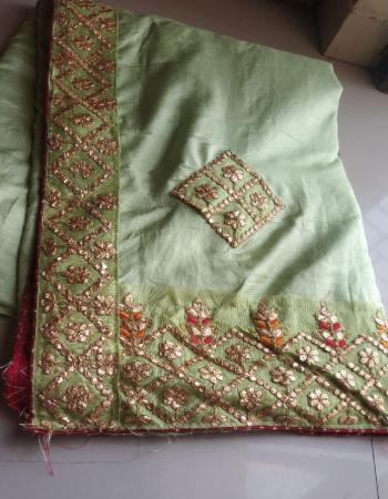 light green dola silk fabric gotta patti work work wedding