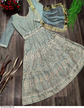 sky blue top dupatta - net | bottom inner - santoon fabric embroidery + jari + squence + stone work running