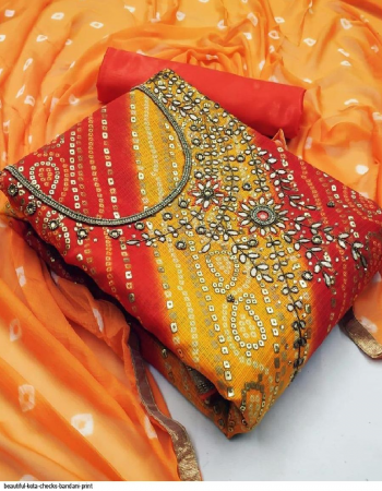orange + yellow top-bandhani print | bottom inner - santoon | dupatta - nazmin fabric handwork work casual