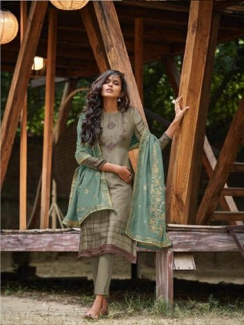 green jacquard fabric embroidery work festival wear