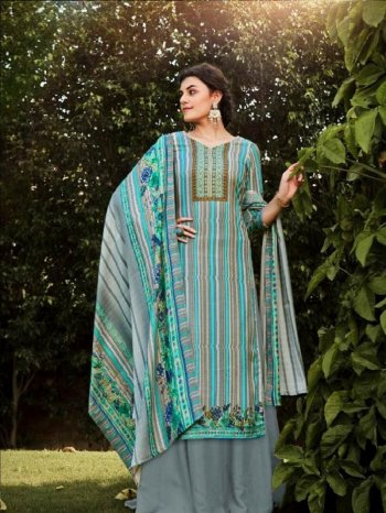 sky banarasi silk fabric printed work casual wear