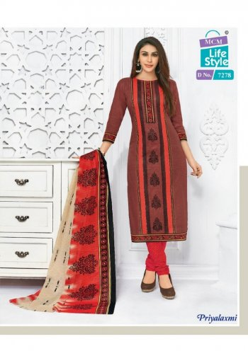 brown cotton fabric printed work casual