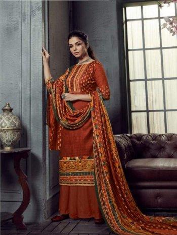 fire orange pure pashmina fabric digital print work festival