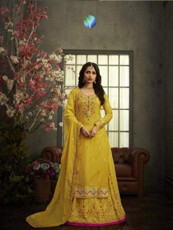 yellow modal dolla silk fabric embroidery work wedding