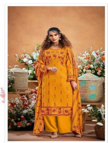 yellow pure pashmina fabric digital print work casual