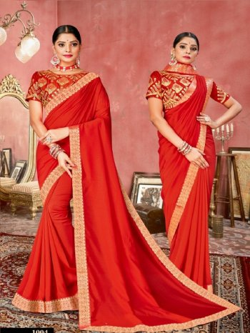 red art silk fabric embroidery work wedding