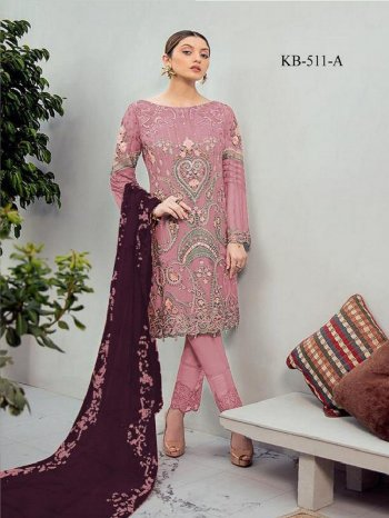pink georgette fabric embroidery work festival