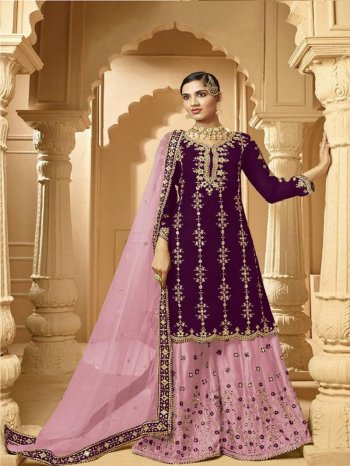 purple georgette fabric embroidery work wedding