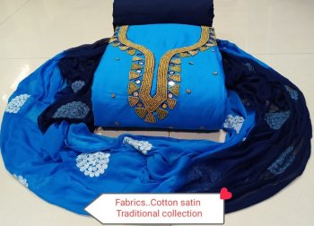 sky cotton fabric neck work work festival