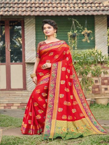 red banarasi silk fabric weaving work wedding