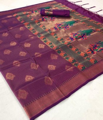 purple pure soft silk fabric weaving work wedding