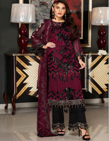 red black  top -georgette with heavy embroidery lace   bottom + inner - dull santoon with embroidery patch   dupatta - nazmeen with heavy embroidery  fabric embroidery work festive