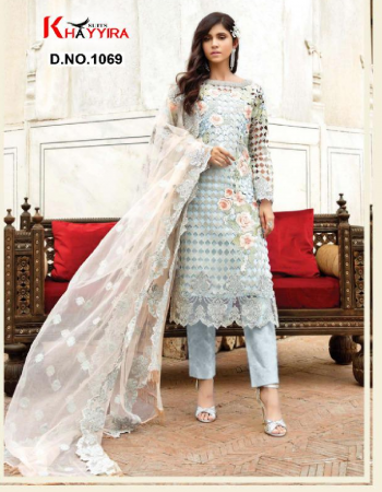 sky top -georgette heavy embroidered   bottom + inner- santoon   dupatta - butterfly net heavy embroidery fabric embroidery work party wear