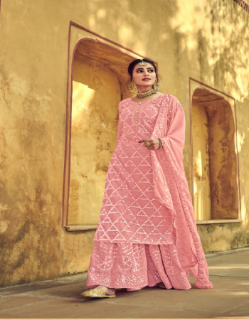 pink top - heavy georgette with heavy exclusive mirror embroidery   bottom (palazzo stitch)- georgette with heavy mirror embroidery   dupatta - nazmeen heavy embroidery lace  fabric embroidery mirror  work running
