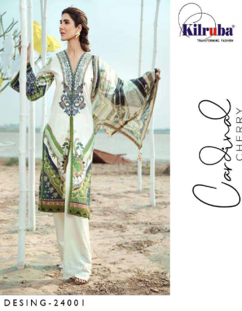 white  top - luxury lawn cotton with beautiful print all over front and back printed   bottom - semi lawn   dupatta - chiffon digital print   type - semi stitch   size - fits upto 56  fabric printed work wedding