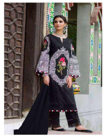 black top- pure cotton cambric with embroidery | bottom- solid cotton | dupatta - nazmin chiffon fabric embroidery work casual