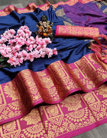 blue  fabric - aura silk self jacqaurd with weaving border   blouse -banarasi jacqaurd  fabric jacqaurd work ethnic
