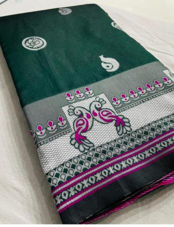 green pure silk fabric silver weaving work festive