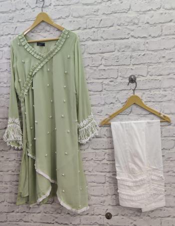 light mehndi  top - fox georgette | pant - jam satin very soft cotton  fabric fancy work casual