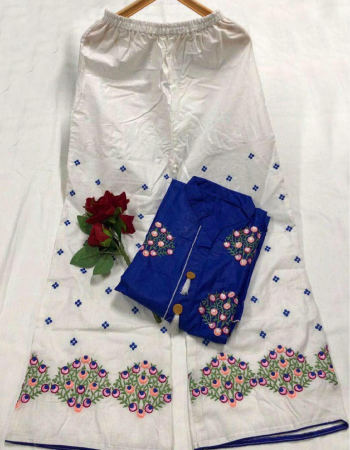 blue  pc cotton fabric embroidery work ethnic