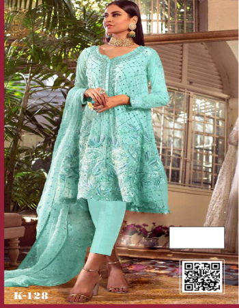 sky top - georgette with beautiful zari resham embroidery | bottom +  inner - santoon | dupatta - chiffon with two side | type - semi stitched | size - fits up to 68 | length -43 fabric embroidery + resham work party wear