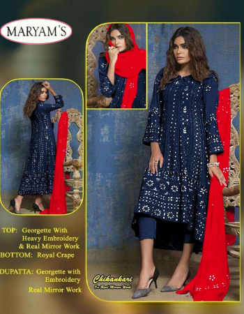 blue  top - georgette | bottom + inner - santoon | dupatta - georgette | size - fits upto 60 | type -semi stitched  fabric embroidery chikanakri mirror work festive