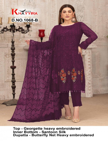 wine  top - georgette heavy embroidery | bottom + inner - santoon silk | dupatta - butterfly net heavy embroidered  fabric embroidery work party wear