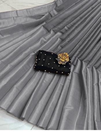 dark grey saree - tissue silk cotton | blouse - exculsive handmade golden pearl  fabric plain work ethnic