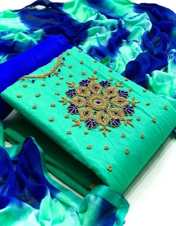 rama  top - modal chanderi silk with handwork on neck (1.9m) | bottom + inner - santoon (3.60m) | dupatta - chiffon (2.20m)  fabric handwork work casual