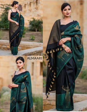 green soft silk fabric golden zari weaving  work ethnic