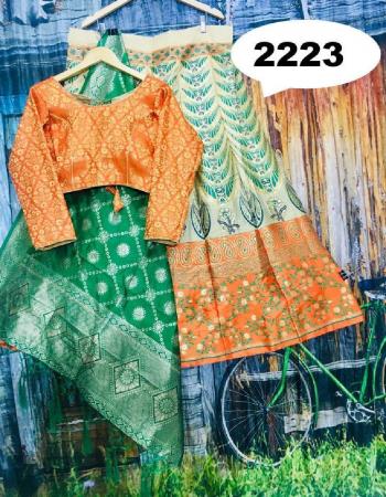 orange  lehenga - brocade with cancan inner semi stitch size upto 42 length - 42 | blouse - pure silk designer full stitch size upto 42 | dupatta - pure banarasi silk fabric jacqaurd  work wedding
