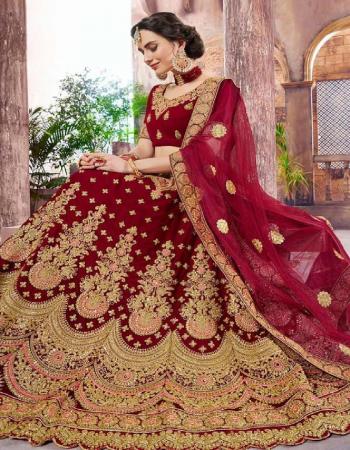 marron fabric - pure velvet 9000 | lehenga - length 44 waist 40-44 semi stitch | blouse - unstitch | dupatta - net fabric embroidery stone  work casual