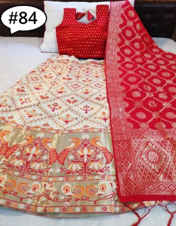 white  lehenga - brocade inner cancan semi stitch upto 42 length 42 | blouse - pure silk full stitch size up to 42 | dupatta - pure banarasi silk fabric jacqaurd  work festive