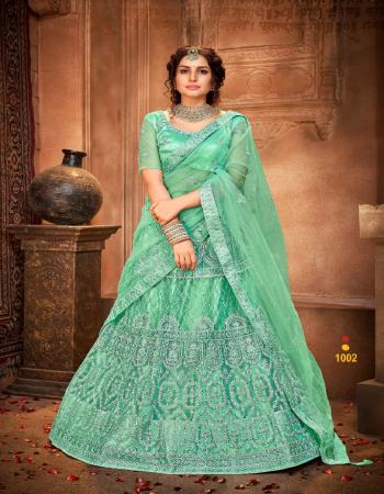 rama lehenga - net with silk satin cancan canvas in border | blouse - net with silk satin inner | dupatta - net fabric embroidery + diamond  work ethnic