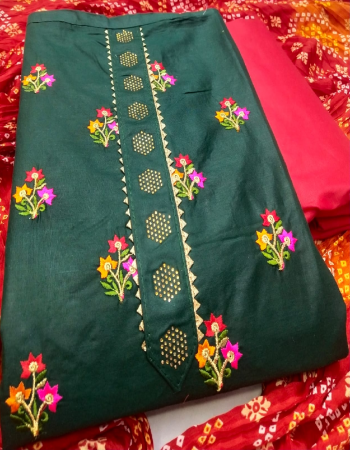green top - pc cotton | bottom - indo cotton | dupatta - bandhani print fabric embroidery work casual