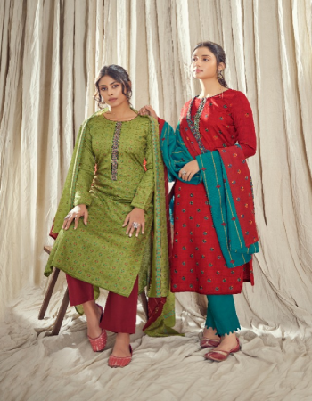 parrot top - satin cotton with embroidery work | bottom - satin cotton 2.50m | dupatta - muslin cotton 2.25m fabric printed emrboidery work party wear