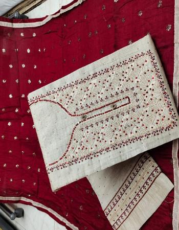 off white top - khadi cotton | bottom + inner - cotton | dupatta - chanderi fabric embroidery work festive