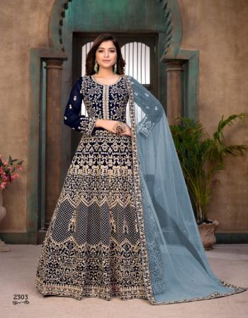 blue  top -faux georgette | bottom -santoon | dupatta - net | type - semi stitch | size up to 44 fabric embroidery work festive